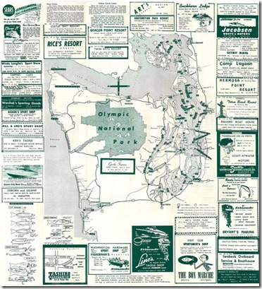 1957 Map of Washington Fishing Resorts, Photo Credit, The Center for Wooden Boats