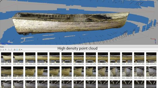Photoscan takes dozens of photos of same object and maps individual points in relation to other points on the boat